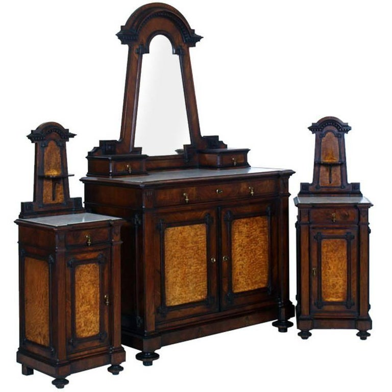 Italian Art Nouveau Dresser and Nightstands Walnut, Applied Olm Root, Marble Top