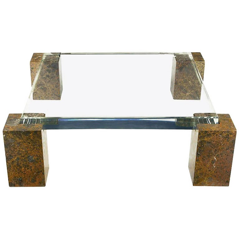 Brazilian Red Marble Column Coffee Table with Thick Lucite Top For Sale