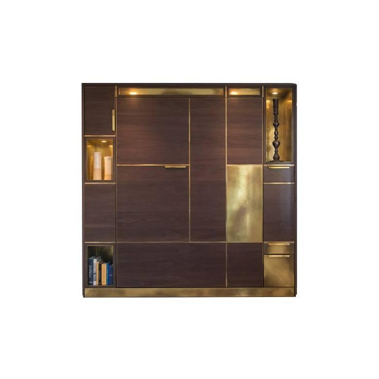 Amuneal's Murphy Bed in Silvered Walnut and Warm Brass For Sale