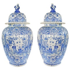 Pair of Pale Blue Delft Baluster Covered Jars
