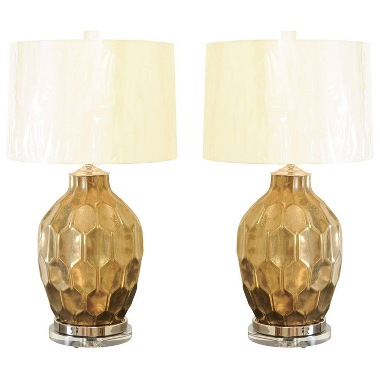 Exceptional Restored Pair of Vintage Large-Scale Faceted Ceramic Lamps