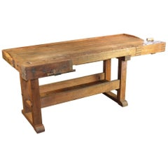Antique Workbench, Console Table, Industrial Table