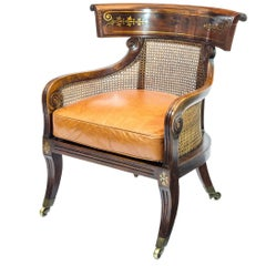 English Regency Klismos Bergere Library Tub Armchair with Tan Leather Cushion