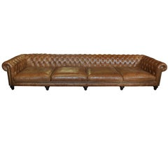 Very Large Leather Chesterfield Settee