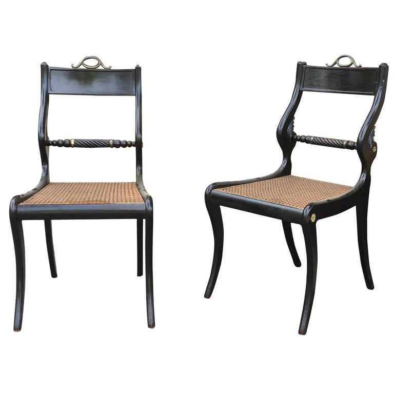 Pair of 19th Century English Regency Side Chairs