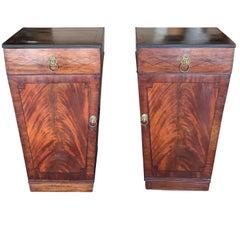 Pair of Period English Regency Mahogany Inlay Pedestal Cabinets, circa 1820