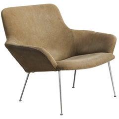Poul Nørreklit Sand Coloured Suede Easy Chair