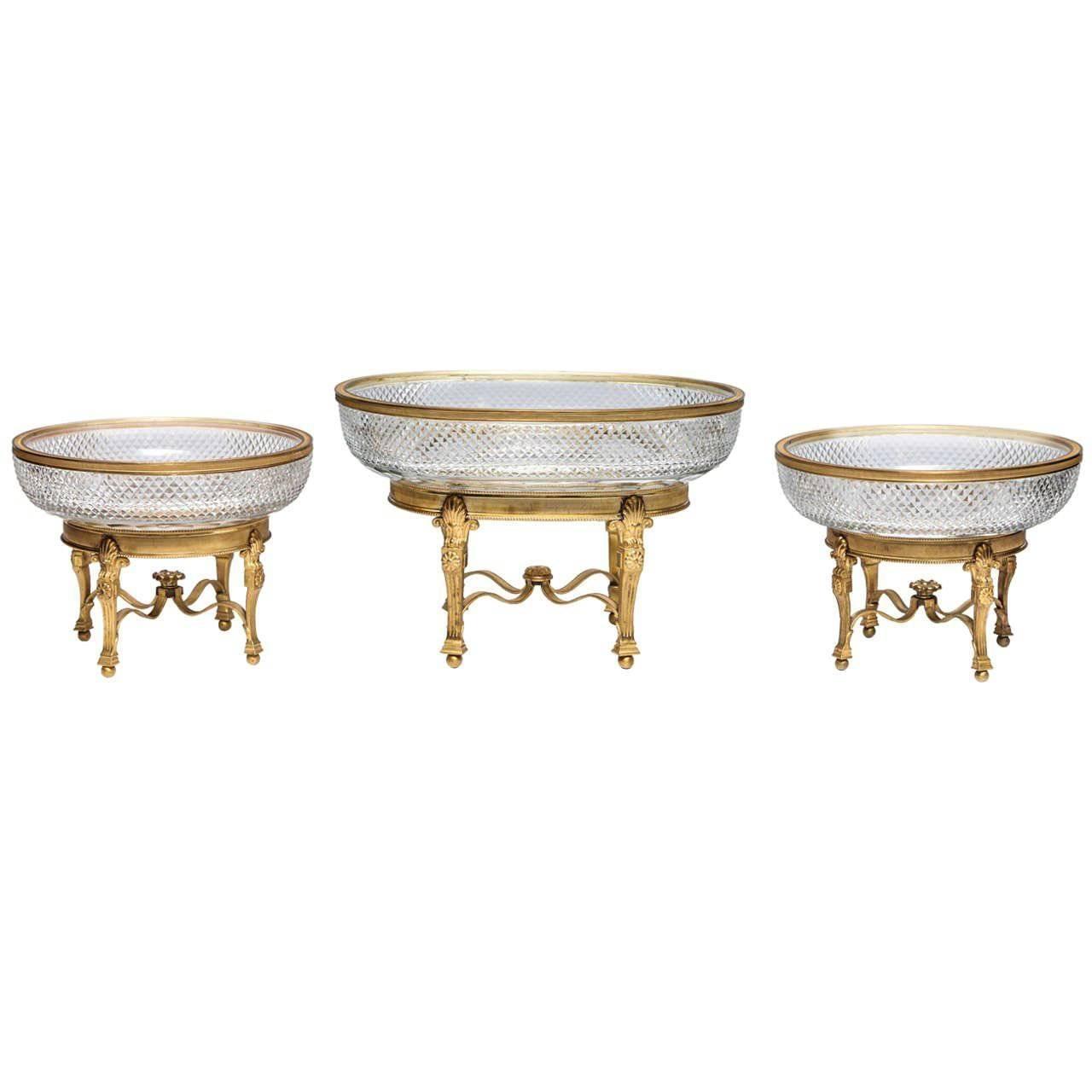 Three-Piece Gilt Bronze Mounted Cut Crystal Centrepiece Garniture Set, Baccarat