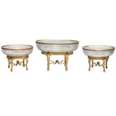 Three-Piece Gilt Bronze Mounted Cut Crystal Centrepiece Garniture Set, Baccarat