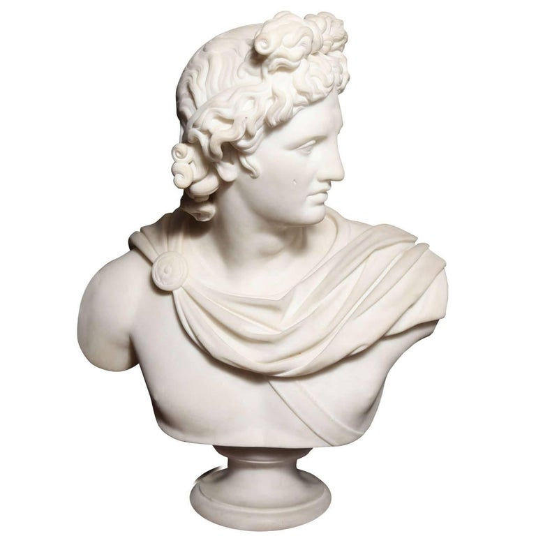Large Monumental Antique Italian Carrara Marble Bust of Apollo, signed