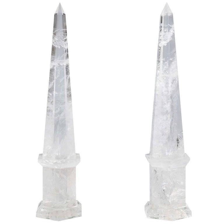 Fine Pair of Cut Rock Crystal Obelisks 1