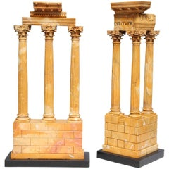 Pair of Antique Italian Grand Tour Models of Ruins in Sienna Marble