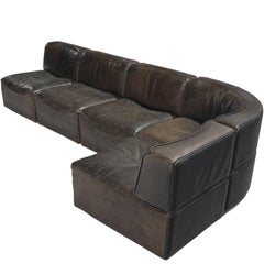 Sectional De Sede DS-15 in Dark Brown Buffalo Leather