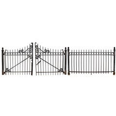 Double Driveway Iron Gates with Posts and Fence