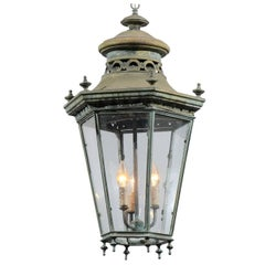 French Hexagonal Verdigris Bronze Three-Light Hanging Lantern, circa 1880