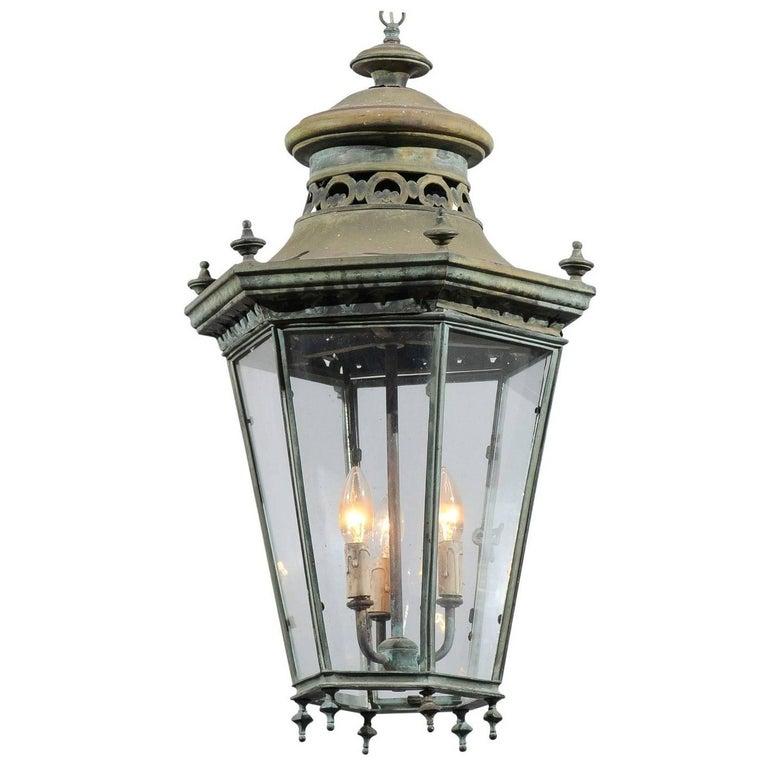 French 19th Century Bronze Three-Light Hanging Lantern