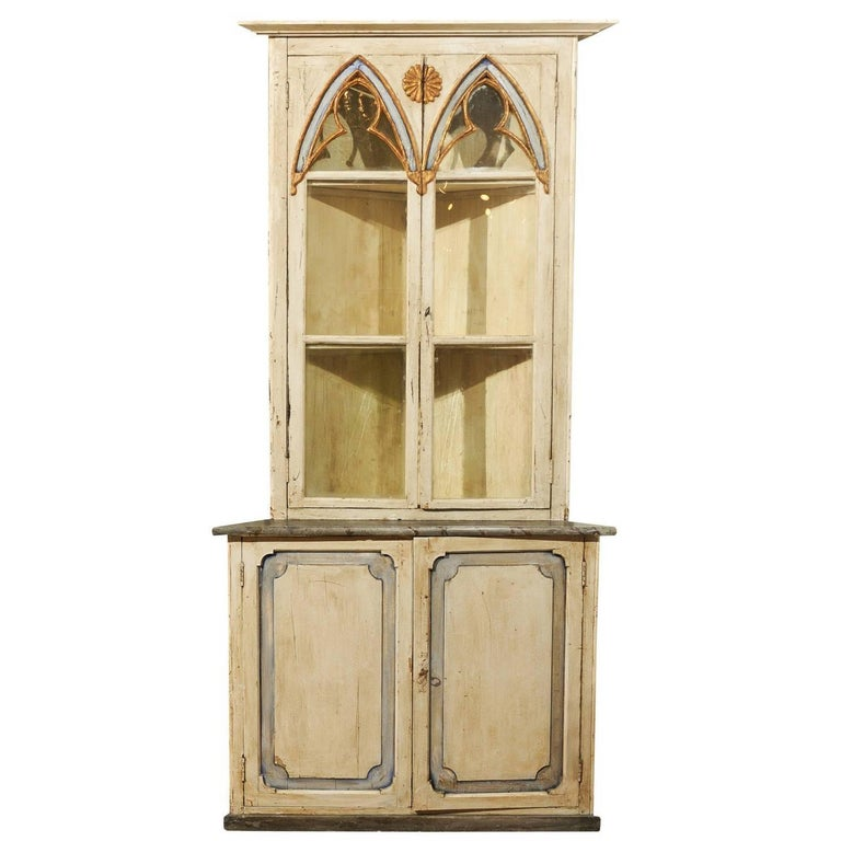 Swedish Gothic Revival Painted Wood Corner Cabinet With Glass Doors