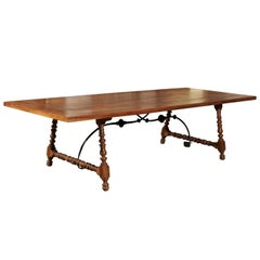 Spanish 18th Century Walnut Fratino Table with Turned Legs and Iron Stretcher