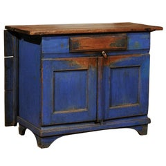 Swedish Blue Painted Buffet with Drop-Leaf Table Attached, Circa 1858