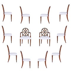 Set of 12 Mahogany Spider Back Dining Chairs