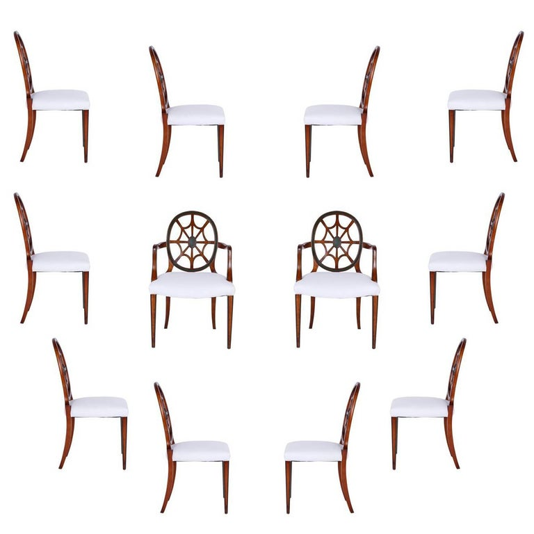 Set of 12 Mahogany Spider Back Dining Chairs For Sale