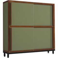 André Sornay Olive Green and Teak Cabinet