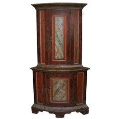 Small Rare Swedish Baroque Floor Standing Corner Cupboard, circa 1760