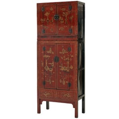 Antique Red Lacquer Gilt Painted Chinoiserie Compound Cabinet, Scholastic Art