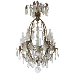 19th Century Baccarat Louis XV Gilt Bronze and Rock Crystal Chandelier