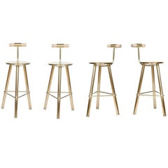 Set of Four Erickson Aesthetics Brass Stool