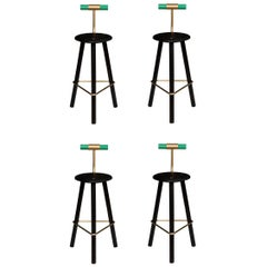 Set of Four Erickson Aesthetics Charred Ash Tripod Stools with Backrest