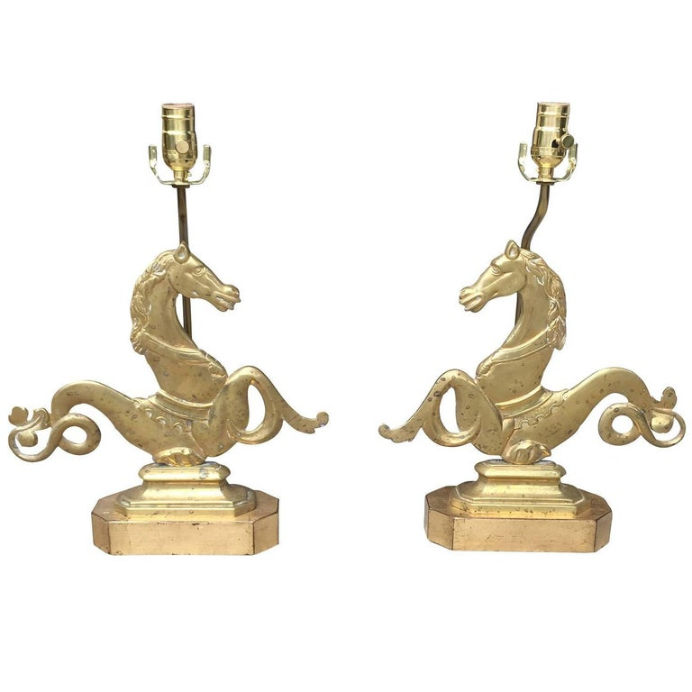 Large Pair of 19th-20th Century Venetian Seahorses, Made into Lamps