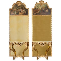 Pair of French Giltwood Consoles with Trumeau Mirrors
