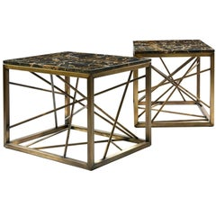 Nest End/Side Tables by Morgan Clayhall, Antique Brass-Plated Steel and Marble