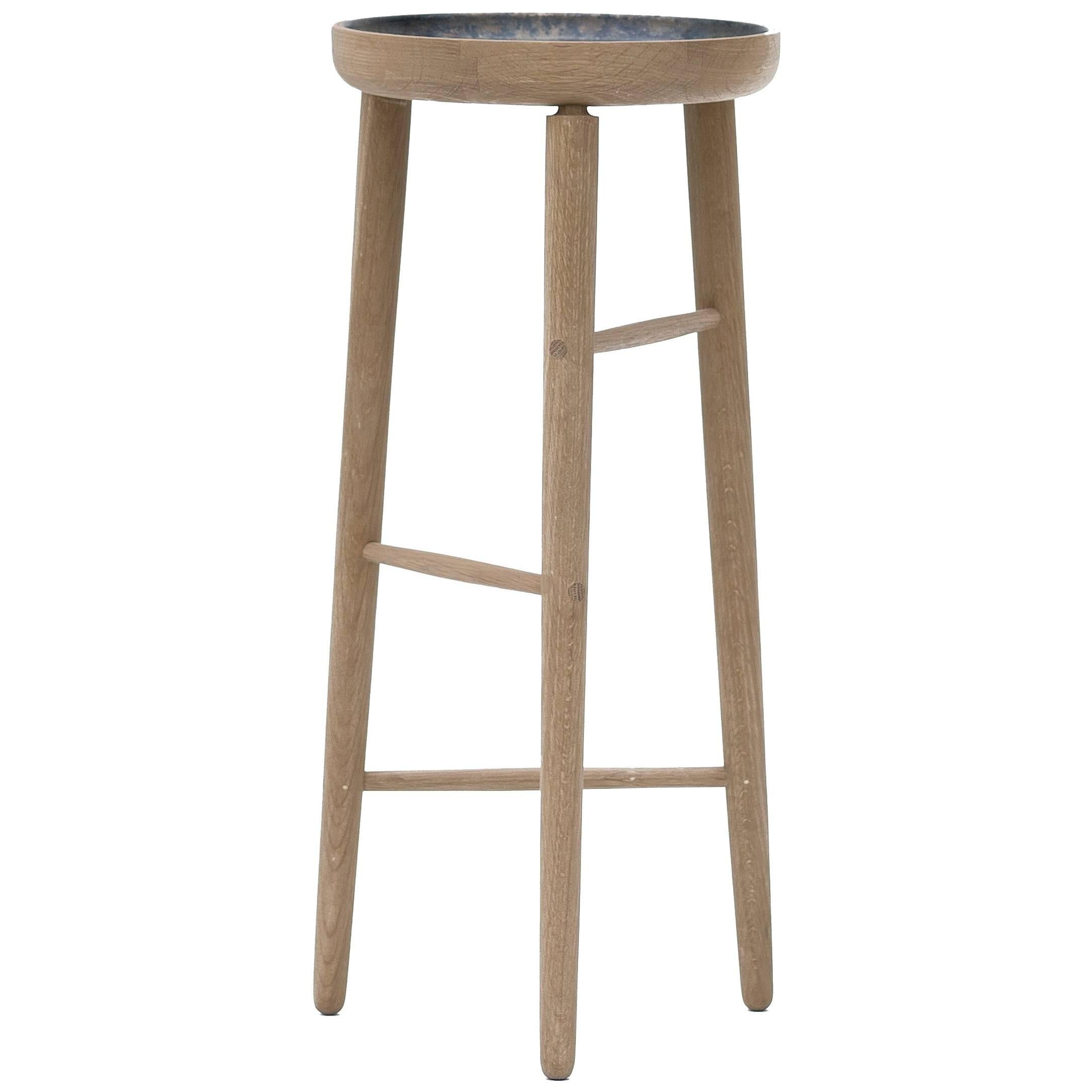 Baré Tall Plant Stand, Solid White Oak Dowel Frame with Cast Bronze Tray