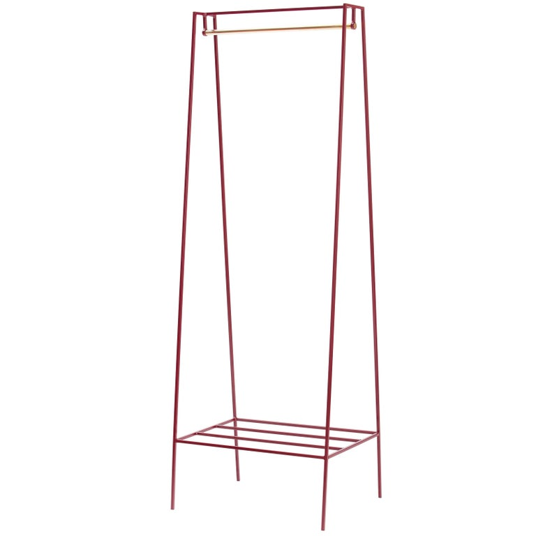 'A' Clothes Rail in Beetroot with a Brass Pole For Sale