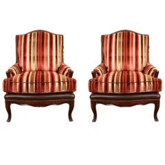 Pair of Leather Upholstered Bergère Club Chairs