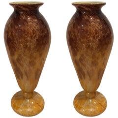Pair of Glass Blown Vases, circa 1910 Signed 'SCHNEIDER'