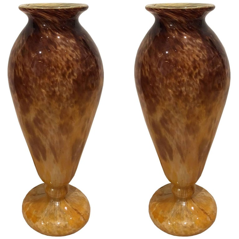 Pair Of Glass Blown Vases Circa 1910 Signed Schneider For Sale At
