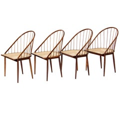 Set of Four Curved Dining Chairs by Joaquim Tenreiro, Brazil, 1960s