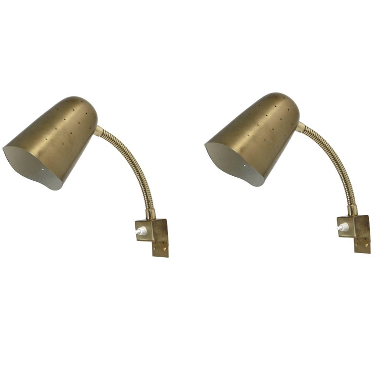 Pair of Mid-Century Wall Lights in Brass by AWF, 1960s