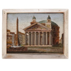 Antique Italian Mirco-Mosaic Plaque Depicting the Pantheon in Rome