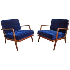 Pair of Walnut Lounge Chairs by Mel Smilow, 1960s
