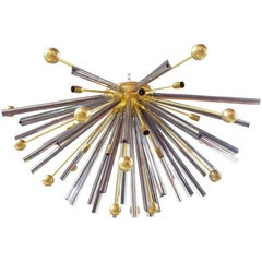 Triedri Brass Sputnik Flush Mount Chandelier
