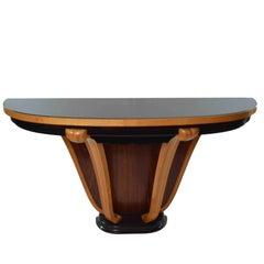 20th Century Art Deco Italian Half Moon Table Console