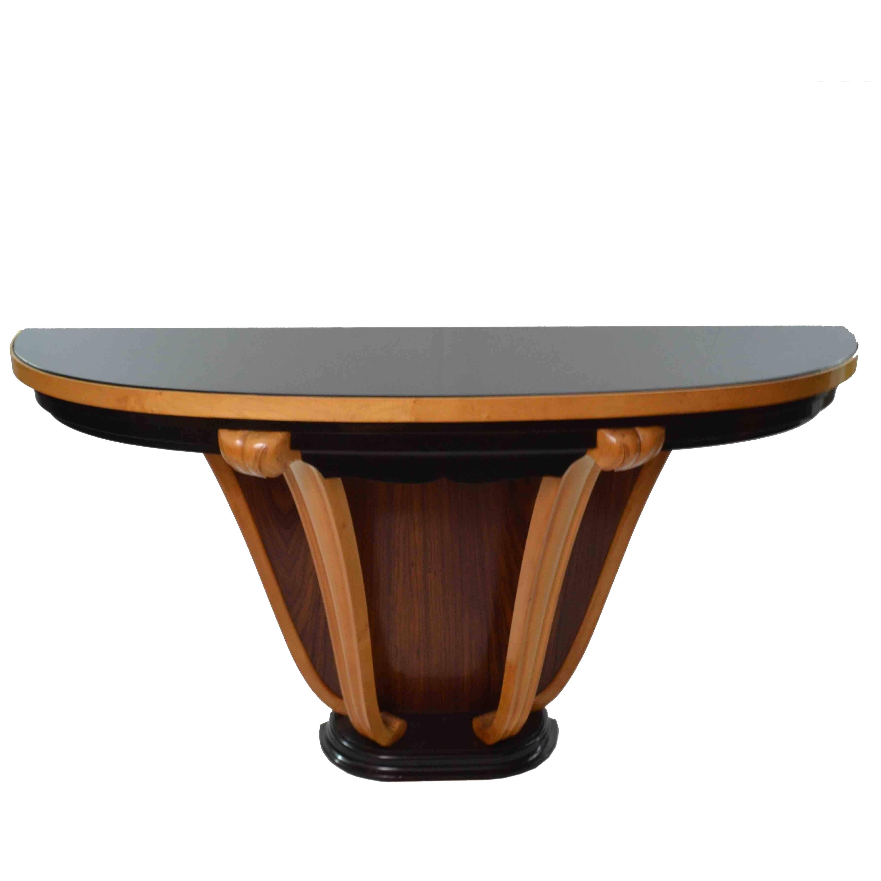 20th century art deco italian half moon table console 1
