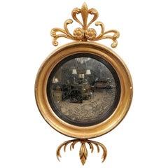 Early 19th Century, English Regency Giltwood Bull's Eye Convex Mirror