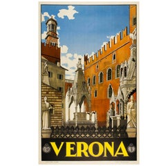 Original, 1930s Italian Travel Poster for Verona Published by Enit