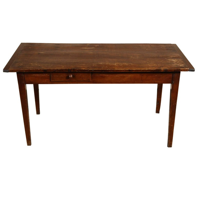 Antique Walnut Farm House Plank Top Country Table For Sale at 1stdibs