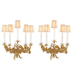 Pair of French 19th Century Louis XVI Style Ormolu Sconces